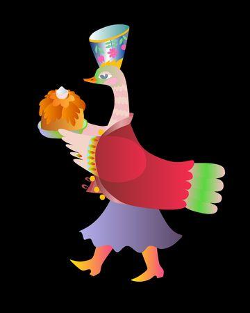 mistress: Fairy duck - mistress. Cute cartoon vector illustration.