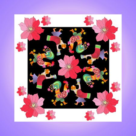 bandana: Lovely tablecloth or kerchief. Bandana print or silk neck scarf with beautiful ornament from flowers and fairy birds. Vector illustration. Year of the rooster.