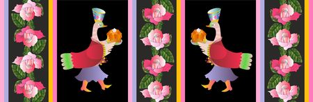 two ducks: Beautiful vector card with two ducks and pink roses. Illustration