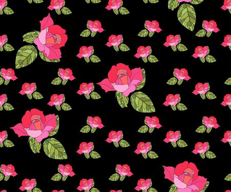 abstract rose: Seamless pattern with pink roses on black background. Retro style.