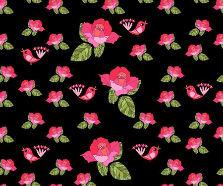 Seamless pattern with pink roses and birds. Illustration