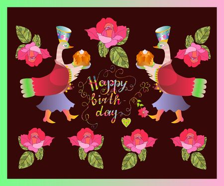 Colorful cute Happy birthday card with fairy ducks, flowers and beautiful lettering. Vector illustration.
