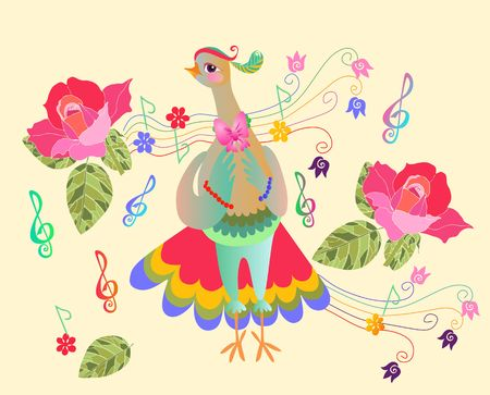 Greeting card with cute cartoon chicken-singer and roses. Year of the rooster. 2017. Illustration