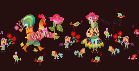 요정 수탉과 암탉 원활한 테두리입니다. 벡터 일러스트 레이 션. 닭의 해입니다. 섬유, 종이, 벽지, 웹 디자인. 일러스트