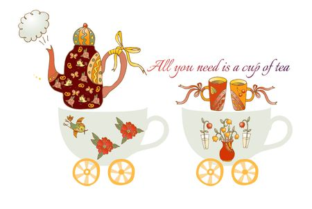 teacups: All you need is a cup of tea. Train from teacups. Cute cartoon card with teapots, flowers, birds and cups.