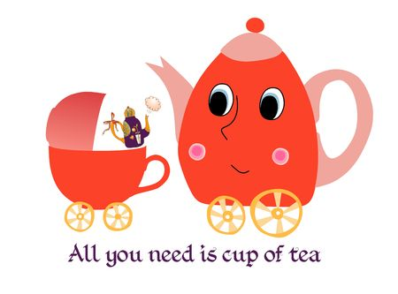 maternal: Maternal child cute cartoon poster card with teapot-mother, kettle-baby and cup-stroller. Illustration