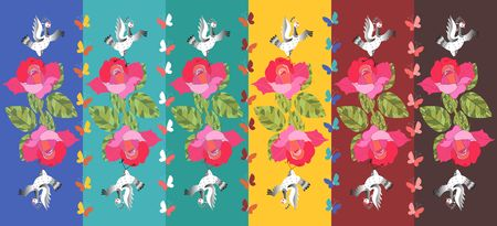 Beautiful striped pattern with cranes, butterflies and roses. Illustration