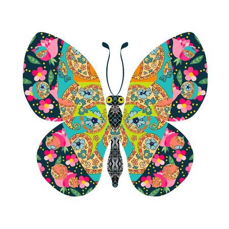 patchwork: Beautiful butterfly. Patchwork. Vector illustration.