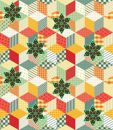 patchwork pattern: Bright seamless patchwork pattern. Vector illustration.