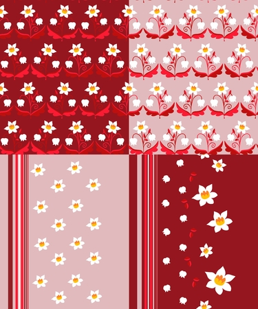 lily of the valley: Set of seamless patterns with flowers and strips. Beautiful vector illustration. Narcissus and lily of the valley. Illustration