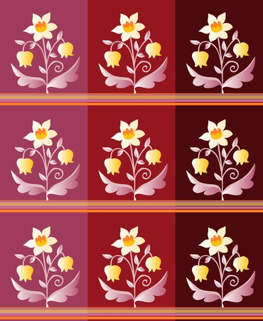 lily of the valley: Set of ceramic tiles with narcissus and lily of the valley. Vector illustration. Illustration