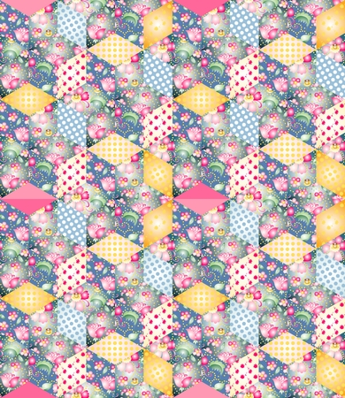 patchwork pattern: Bright endless patchwork pattern. Illustration