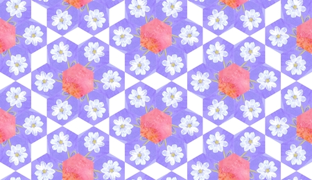 patchwork pattern: Watercolor seamless patchwork pattern with white flowers.