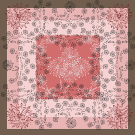 neckerchief: Hand drawn floral lace. Silk neck scarf with beautiful flowers on background in pink tones. Bandana or kerchief square pattern design style for print on fabric. Stock Photo