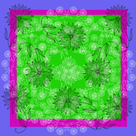 neck scarf: Summer lace. Bandana print or silk neck scarf. Floral kerchief square pattern. Hand drawn flowers. Stock Photo