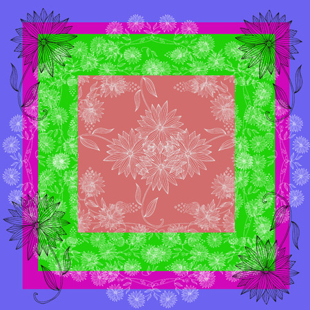neck scarf: Floral lace. Silk neck scarf or bandana with beautiful flowers on colorful background. Kerchief square pattern design style for print on fabric.