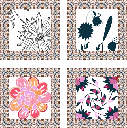 napkins: Set of beautiful napkins with cute flowers. Hand drawn floral cards with ornamental borders.