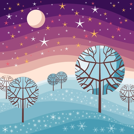 winter scene: Winter landscape. Night scene with snow, trees, starry sky and moon. Vector illustration.