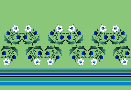 Herbaceous border with white and blue flowers and strips. Beautiful vector illustration. Narcissus and lily of the valley.
