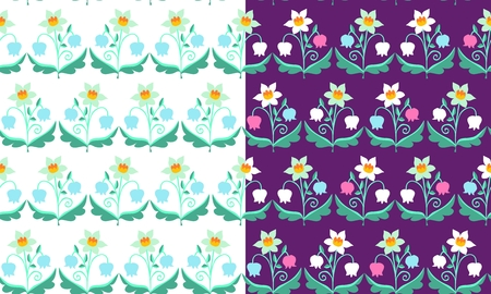 lily of the valley: Set of  patterns with flowers. Beautiful vector illustration. Narcissus and lily of the valley.