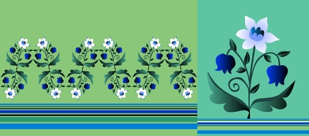 lily of the valley: Set of  patterns with flowers and strips. Beautiful vector illustration. Narcissus and lily of the valley. Illustration