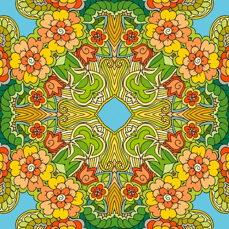 Decorative floral ornament. Can be used for cards, bandana prints, kerchief design, tablecloths and napkins. Vector illustration. Illustration