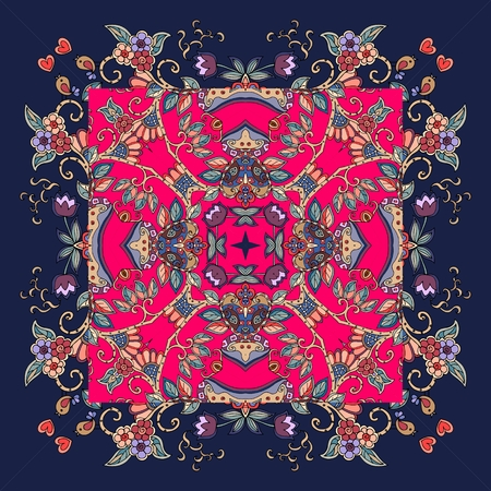 napkins: Decorative floral ornament. Can be used for cards, bandana prints, kerchief design, tablecloths and napkins. Illustration