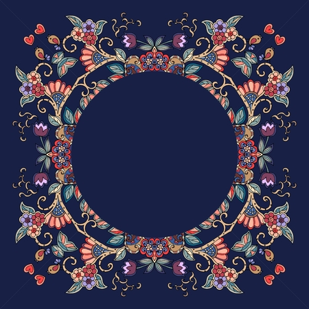 napkins: Decorative floral ornament. Can be used for frames, cards, bandana prints, kerchief design, tablecloths and napkins. Vector illustration.