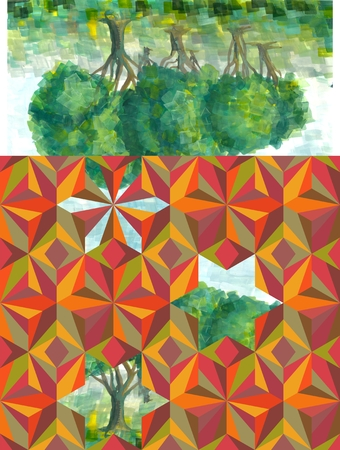 pictorial art: A bit of summer in small envelope. Beautiful card with hand painted trees and ornamental pattern.