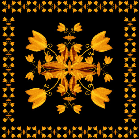 inlaid: Floral ornament stylized inlaid wood. Card with gold tulip flowers on black background. Stock Photo