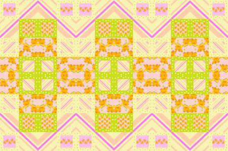 patchwork pattern: Seamless summer patchwork pattern with flowers, dots and zigzag stripes.