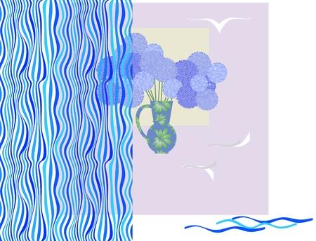 Bouquet of blue stylized flowers in beautiful vase on a windowsill.