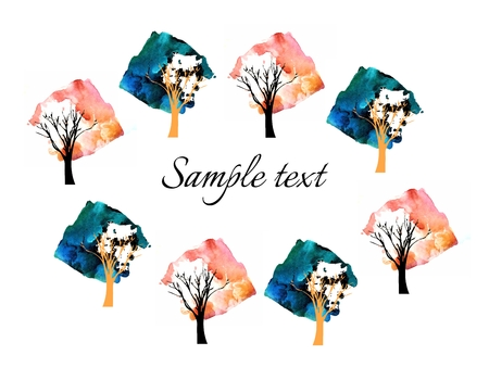 grunge tree: Beautiful card with watercolor trees on white background.