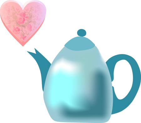 Beautiful teapot with heart for Valentines day.
