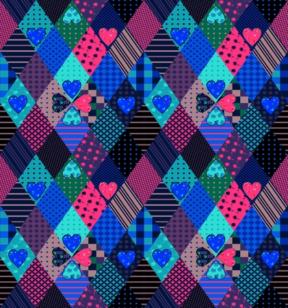 Seamless patchwork pattern with hearts. Bright fabric design. Vector illustration of quilt. Illustration