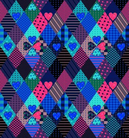 Seamless patchwork pattern with hearts. Bright fabric design. Vector illustration of quilt. Illusztráció