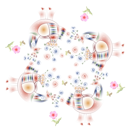 Lovely tablecloth. Bandana print with fairy birds and pink flowers.