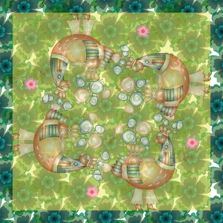 hanky: Beautiful bandana print with four fairy birds on background with flowers. Silk neck scarf or kerchief square pattern design style for print. Lovely tablecloth. Stock Photo