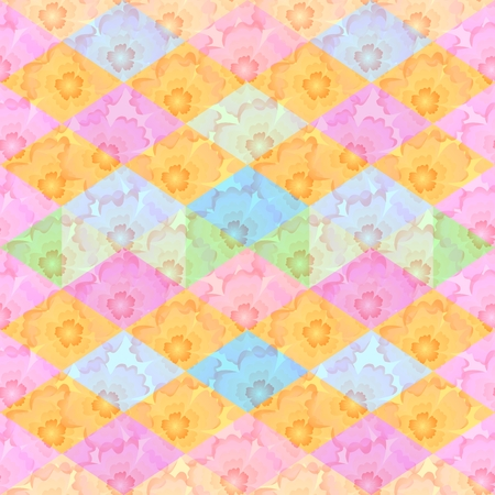 Seamless floral and geometric pattern. Background with flowers and rhombuses.
