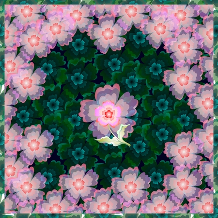 hanky: Floral bandana print. Beautiful square pattern with pink and  blue flowers. Stock Photo