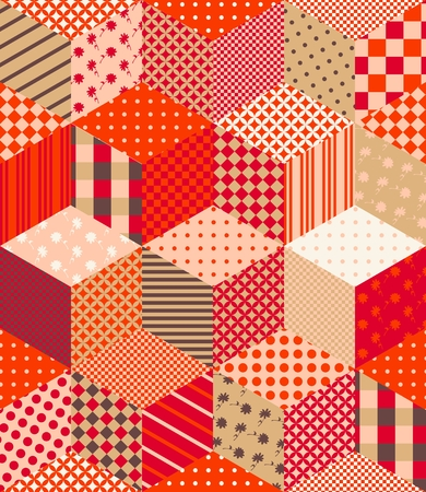 Patchwork in warm autumn colors. Bright seamless pattern. Colorful vector illustration.