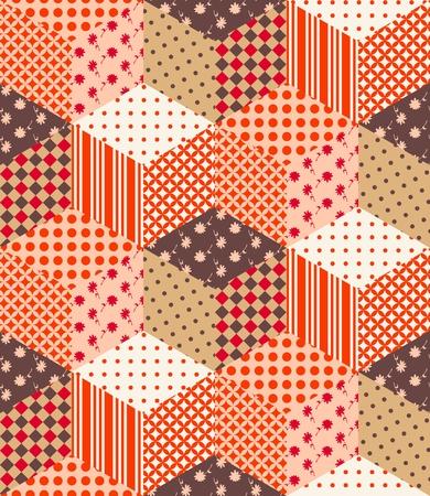 多色のキューブからシームレスなパッチワークのパターン。キルトのベクター イラストです。