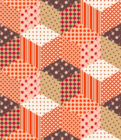patchwork pattern: Seamless patchwork pattern from multicolor cubes. Vector illustration of quilt.