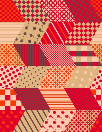 quilting: Autumn seamless patchwork pattern with zigzags. Quilting design in warm colors. Multicolor vector illustration. Illustration