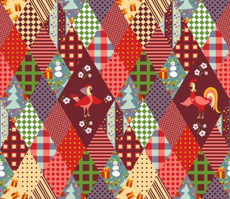 quilting: Seamless patchwork pattern for Christmas and chinese year of the Rooster. Quilting of rhombus different patches. Vector illustration.