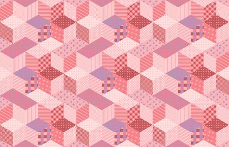 花および幾何学的なパッチとピンクとライラック色のトーンでパッチワーク。星とカラフルなシームレス パターン。キルトのベクター イラストです