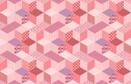 Patchwork in pink and lilac tones with floral and geometric patches. Colorful seamless pattern with stars. Vector illustration of quilt.