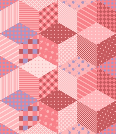 Romantic Patchwork Pattern In Tender Pink Colors Vector