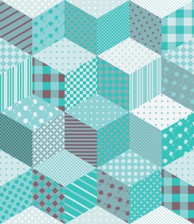 patchwork pattern: Winter seamless patchwork pattern in aquamarine tones. Vector background.