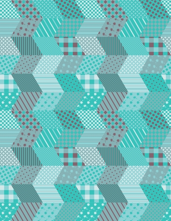 Winter seamless zigzag pattern. Patchwork vector illustration in aquamarine tones.